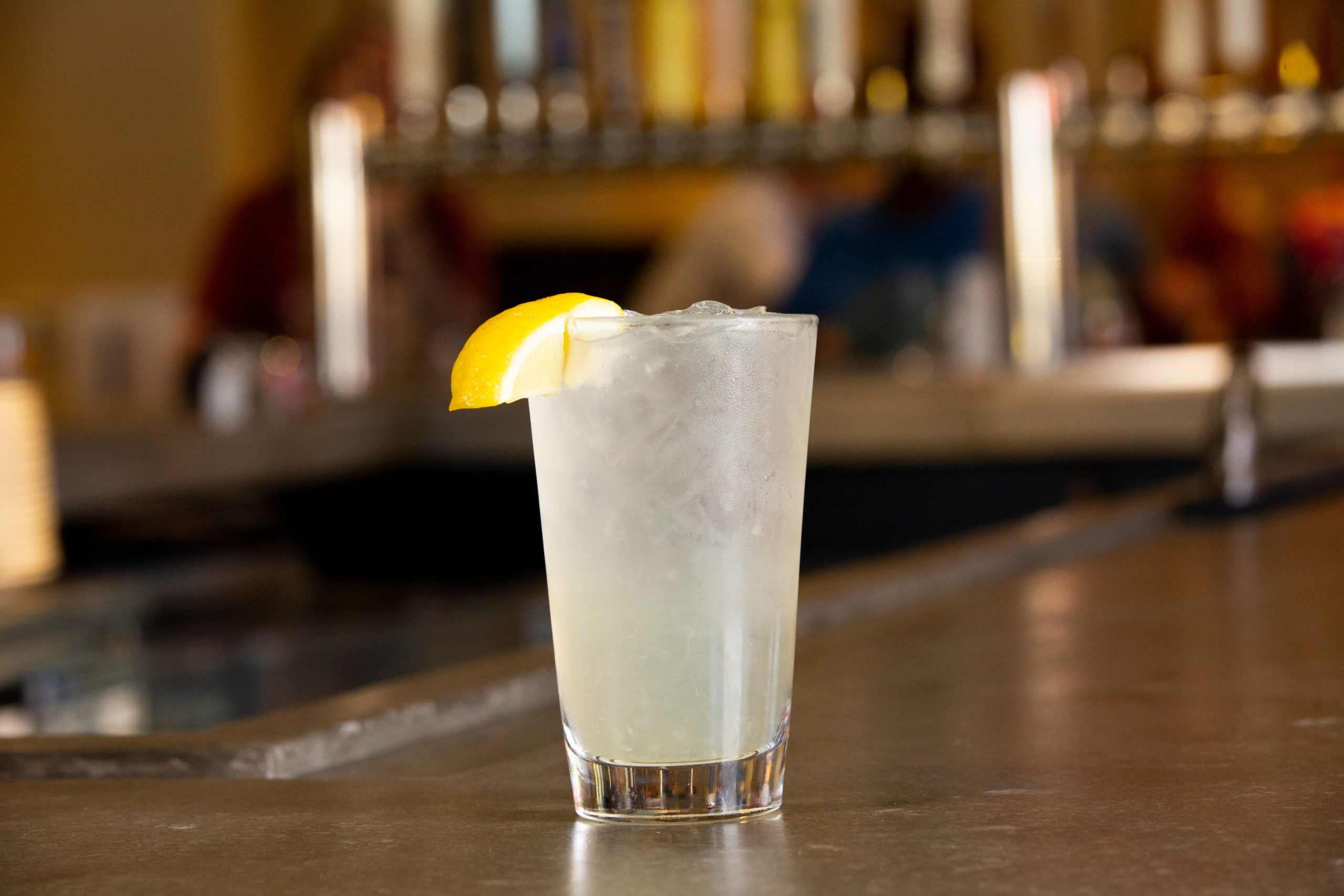 Lemonade in glass with lemon slice