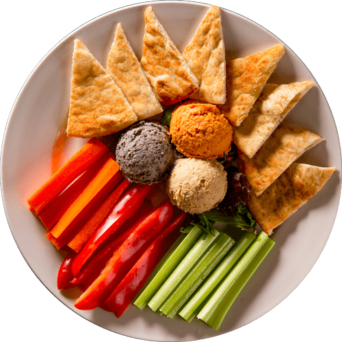 Hummus Trio <small>with Wood Fired Pita Chips</small>