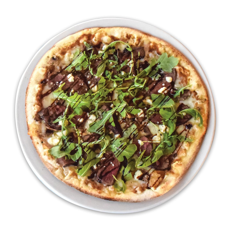 Fire Braised Flank Steak & Gorgonzola Pizza